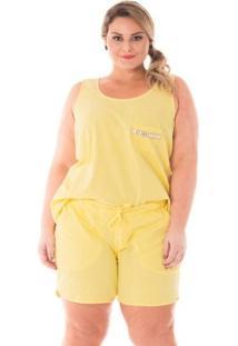 Shorts Confidencial Extra Plus Size Esportivo Jogger Feminino - Feminino-Amarelo Claro