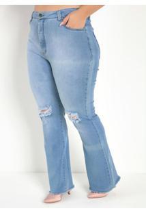 Calça Jeans Clara Flare Com Bolsos Plus Size