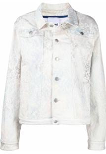 Koché Lace-Print Denim Jacket - Branco