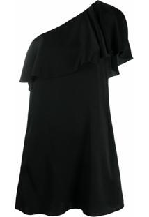 Saint Laurent Vestido Ombro Único Com Babados - Preto