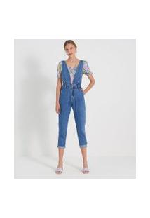 Macacão Mom Jeans Liso Com Decote V E Pregas | Blue Steel | Azul | 36