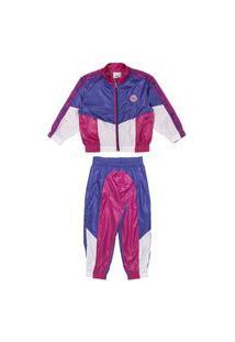 Conjunto Jaqueta Calça Neon Rosa Marinho Animê 6 Azul Marinho