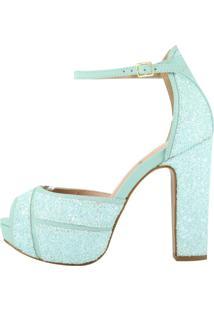 Sandália Salto Week Shoes Grosso 3D Glitter Verde Água