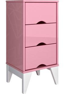 Mesa De Cabeceira 3 Gav. Twister Quartzo Rosa Tcil Móveis
