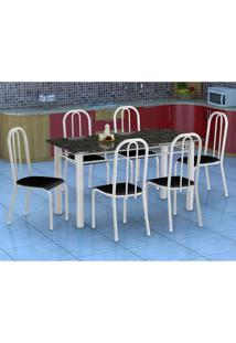 Conjunto De Mesa Granada Com 6 Cadeiras Madri Branco E Preto Liso Gr