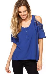 Camisa Facinelli Renda Azul