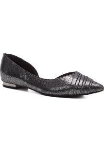 Sapatilha Shoestock Bico Fino Plissada Feminina - Feminino-Prata