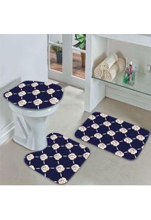 Jogo Tapetes Para Banheiro Floral Marinho - Único