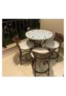 Conjunto De Mesa Em Mosaico Florido Com 4 Cadeiras