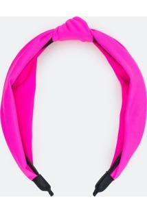 Tiara Larga Com Nó Rosa Neon