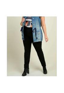 Calça Plus Size Feminina Bengaline Cintura Alta Bolsos
