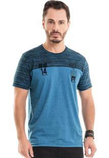 Camiseta Com Bordado Azul Bgo
