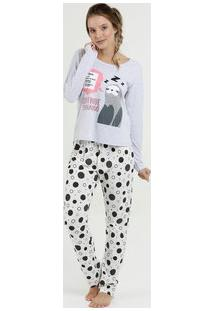 Pijama Feminino Estampa Preguiça Manga Longa Marisa