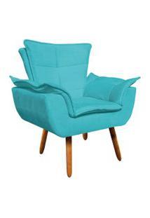 Poltrona Decorativa Opala Suede Azul Turquesa - D'Rossi.
