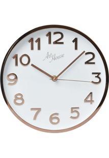 Relógio De Parede Rose Gold E Branco 35 Cm