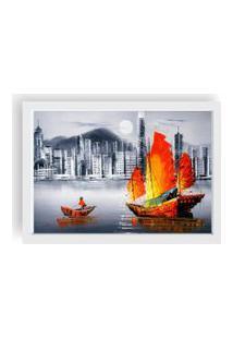 Quadro Love Decor Decorativo Com Moldura Pintura Barco Branco