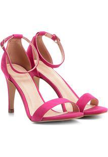 Sandália Couro Shoestock Salto Fino Naked Feminina - Feminino-Pink