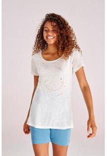 Camiseta Yogini Papoula Bordada Feminina - Feminino-Off White