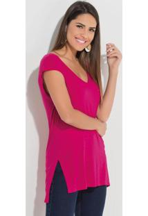 Blusa Mullet Quintess Com Fendas Pink