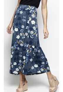 Saia Longa Floral Com Recorte- Azul Marinho & Brancadbz Jeans