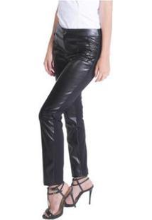 Calça Leather E Malha Miss Joy Skinny Feminina - Feminino-Preto