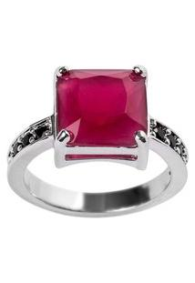 Anel Quadrado The Ring Boutique Pedra Cristal Vermelho Rubi Ródio Ouro Branco