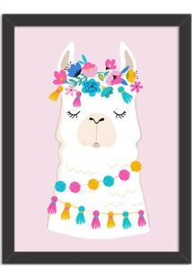Quadro Decorativo Infantil Lhama Branco E Rosa Com Flores Preto - Médio