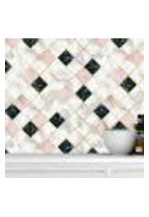 Papel De Parede Adesivo Autocolante Azulejo Marmore Branco Rose E Preto