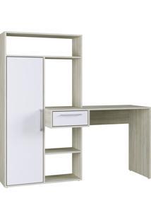 Escrivaninha Modern Office 1 Porta 1 Gaveta 4 Nichos Branco E Estilare Móveis