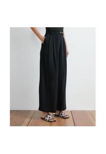 Calça Pantalona Em Viscose Com Pregas   Atelier   Preto   38