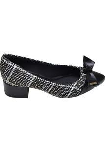 Sapato Feminino Salto Médio Modare Preto Xadrez