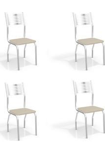 Conjunto Com 4 Cadeiras De Cozinha Munique Cromado E Nude