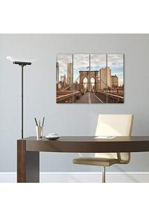 Placa Painel Decorativa Em Mdf Foto Brooklyn Kit 4 Placas
