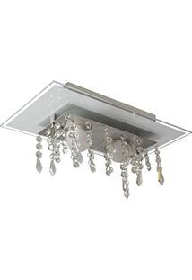 Plafon De Vidro Com Cristal Para 02 Lâmpadas - Aceita Lâmpadas De Led - Branco