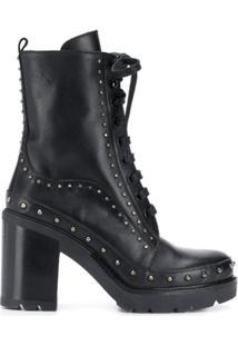 Pinko Ankle Boot Com Aplicação De Tachas - Preto