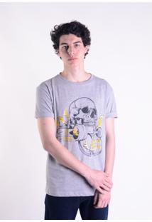 Camiseta Mescla Cinza Skate Skull