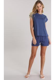Pijama Estampado De Poá De Algodão + Sustentável Azul Marinho