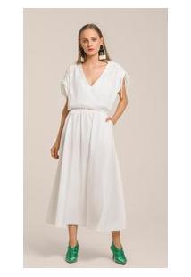 Vestido Midi Decote V Detalhe Costas Off White G
