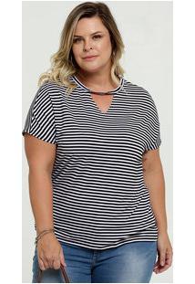 Blusa Feminina Choker Listrada Plus Size Marisa
