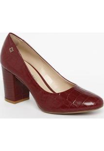 Sapato Tradicional Em Couro Com Tag - Bordã´- Salto: Capodarte