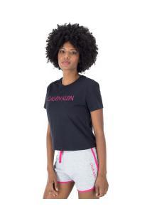 Camiseta Calvin Klein Silk - Feminina - Preto/Rosa
