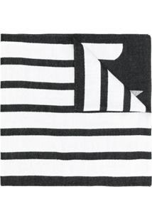 Emporio Armani Echarpe Com Logo E Listras - Branco
