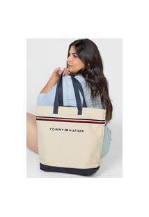 Bolsa Tommy Hilfiger Logo Off-White/Preto
