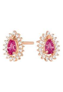 Brinco Ouro Rosé Rodolita E Diamantes