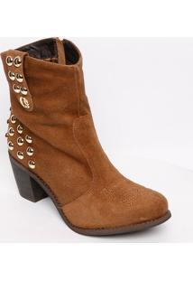 Ankle Boot Em Couro Acamurçado- Marrom Claro- Salto:Carmen Steffens