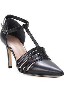 Scarpin Couro Shoestock Salomé Salto Alto - Feminino