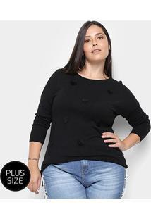 Suéter Tricot City Lady Plus Size Coração Feminino - Feminino-Preto