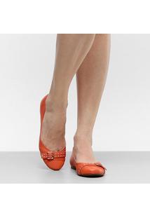 Sapatilha Couro Shoestock Tira Fivela Pespontos Feminina