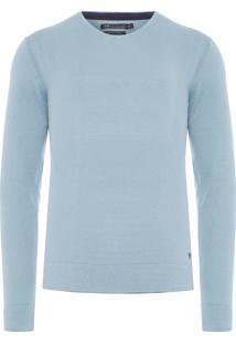 Blusa Masculina Tricot Básico V-Neck - Azul