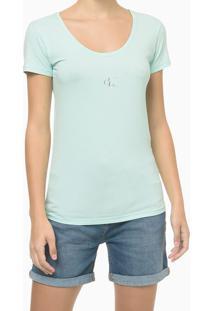 Blusa Mc Slim Cot Reat Gc Logo - Verde Claro - Pp